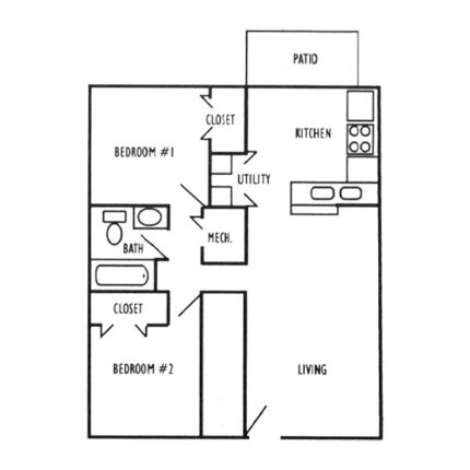 2 Bdrm, 1 Ba Apartment Floorplan